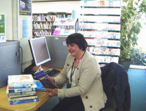 Sue James campaigning to protect St Just Library's opening hours
