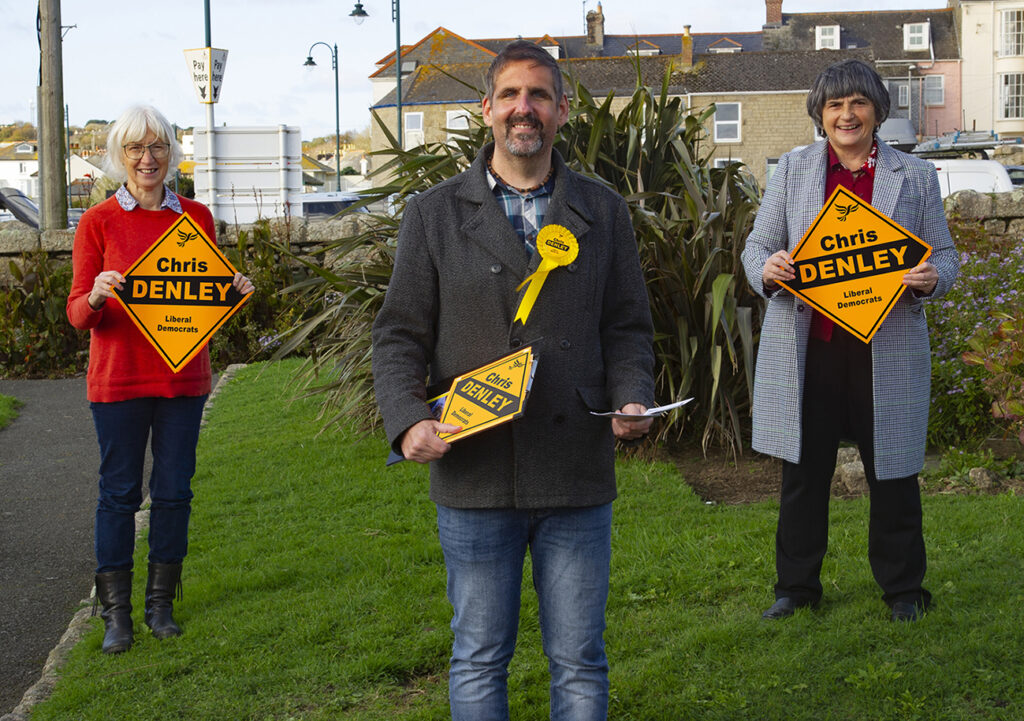 Councillor Sue James and Helen Hawkins with Lib Dem candidate Chris Denley